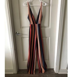 Multi Striped Plisse Jumpsuit